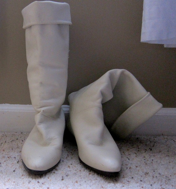 White leather riding boots