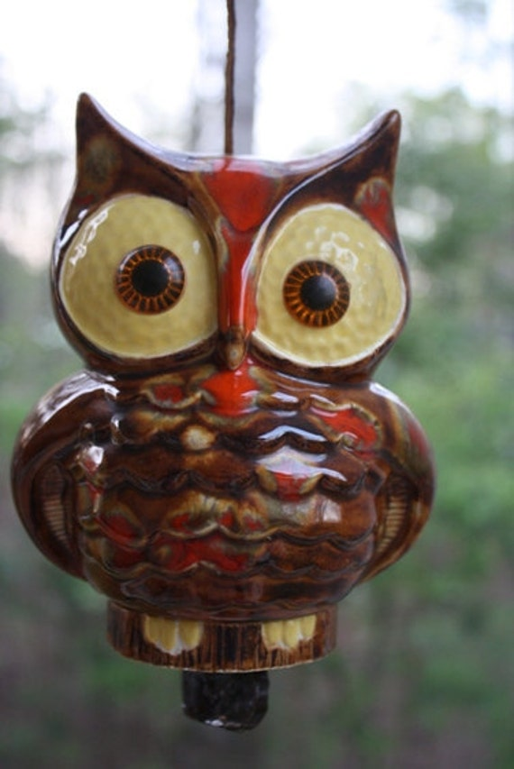 Cute Owl Ceramic Wind Chime Hanging Owl Bell Porch Decoration