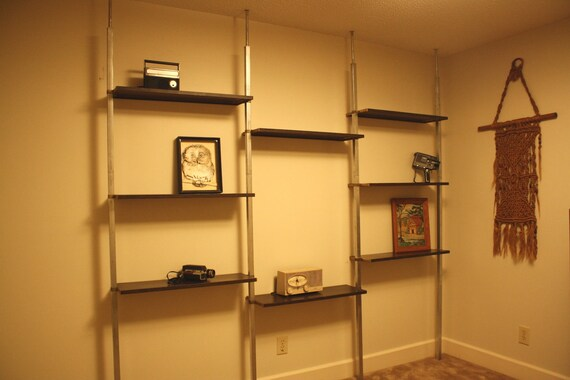 Retro Metal Wall Shelf Room Divider Steampunk Chrome By
