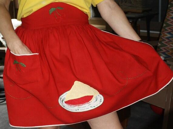 Red Cherry Pie Kitchen Apron Skirt Style Tying Waist Cherries Embroidery