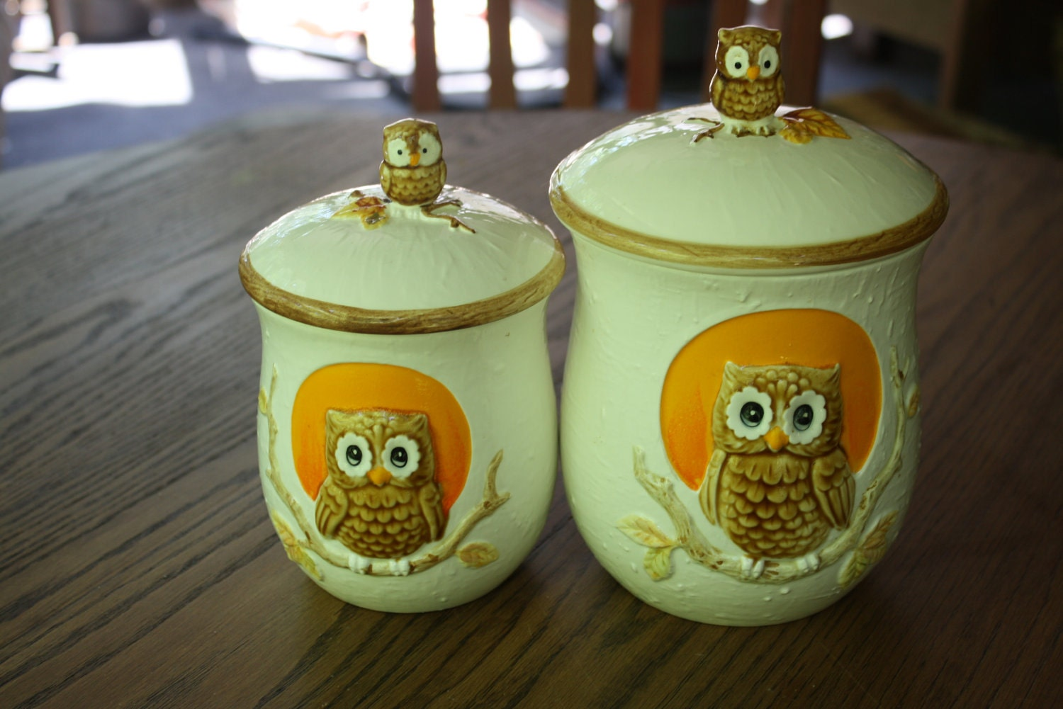 Retro Owl Canister Set Pottery Containers For Kitchen Counter