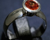 Orange Sapphire Ring with Tapered Bezel