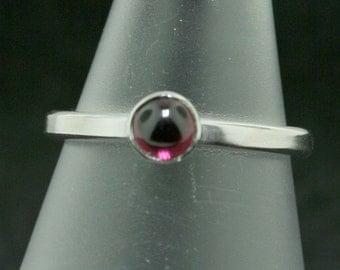 Garnet Cabochon Trinket Ring- Stackable