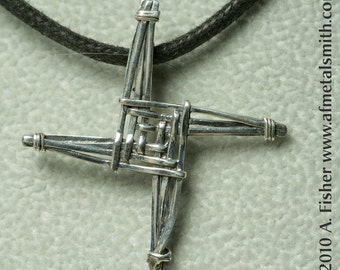 Dainty St Brigid's Cross Pendant- cast sterling