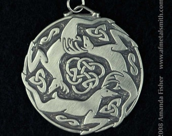 Triple Stag Triskele Pendant- a Celtic design