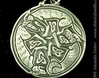 Triple Wolf Triskele Pendant- A Celtic Design