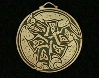 Bronze Triple Wolf Triskele Pendant- a Celtic design