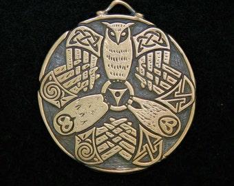 Bronze Triple Owl Triskele Pendant- A Celtic Design