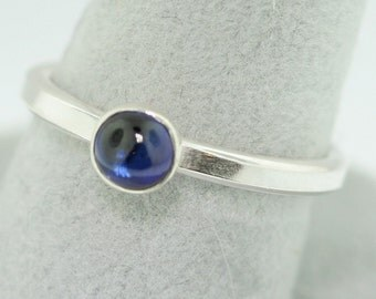 Sapphire Cabochon Trinket Ring- Stackable