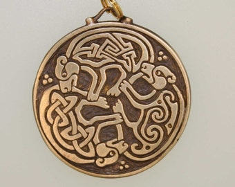 Bronze Triple Bear Triskele Pendant- a Celtic Design
