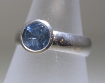 Showy Ice Blue Tourmaline Tapered Bezel Ring