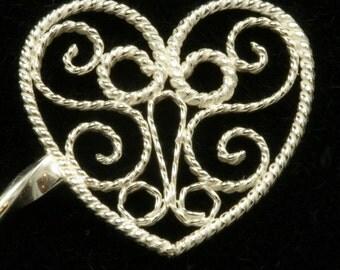 Sterling Filigree Heart Hairstick- handmade