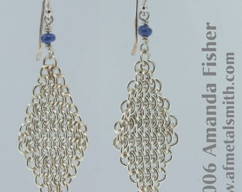 Dense Sterling Chainmail Earrings, with Sapphires