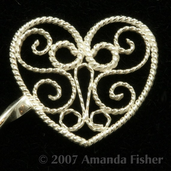 Sterling Filigree Heart Hairstick- handmade