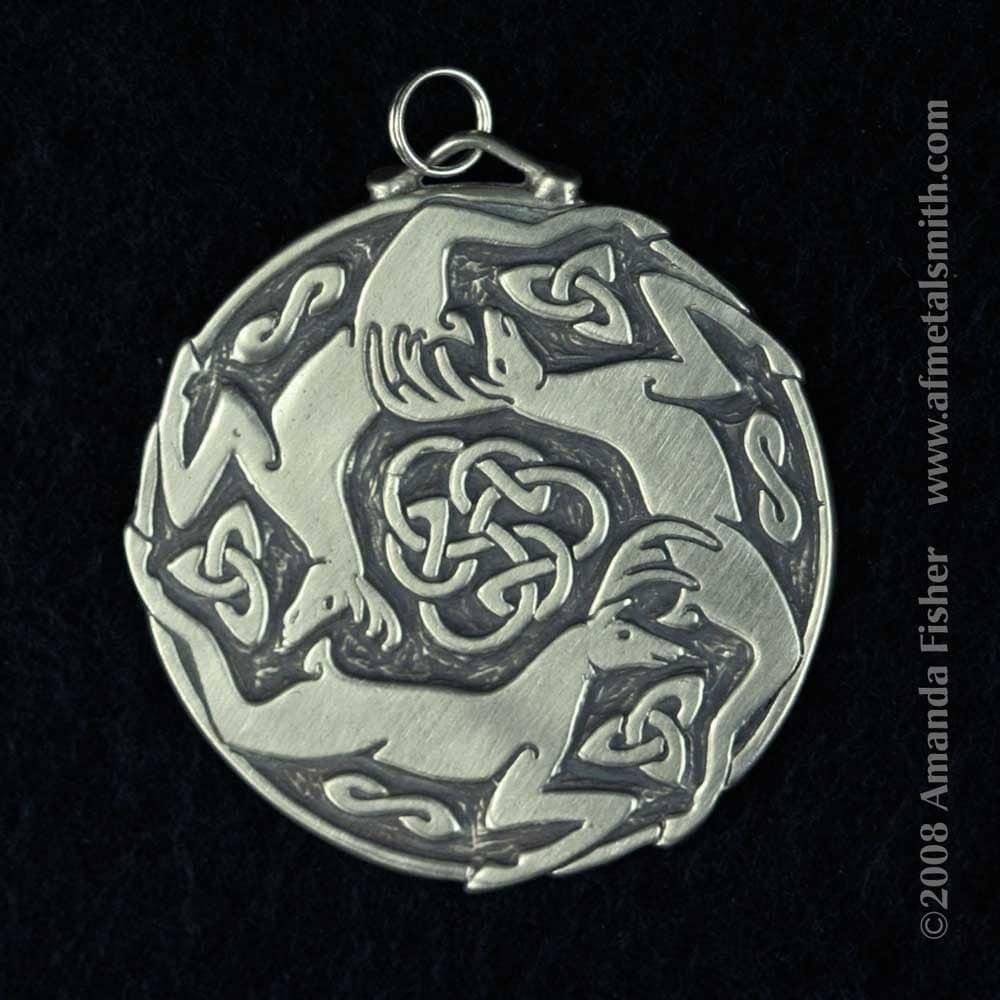 Triple stag triskele pendant a celtic design zoom aloadofball Image collections
