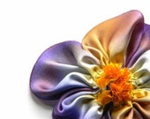 purple and yellow silk flower brooch pin or hair clip