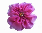 little ribbon flower brooch in lavender and magenta