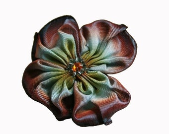 flower brooch in chocolate aqua and gold
