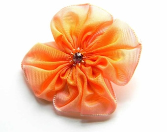 little poranj pink and orange hand sewn ribbon flower brooch