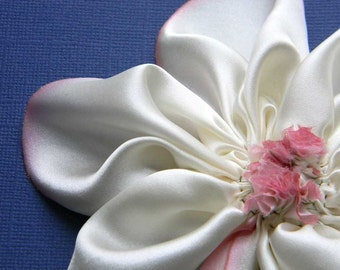 Big silk flower in cream and pink brooch pin hand sewn hand dyed silk