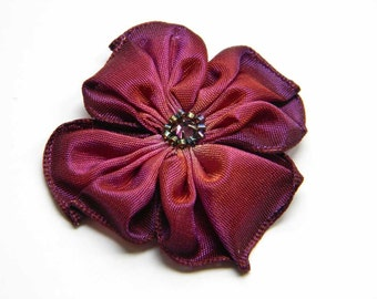 little flower brooch in burgundy plum