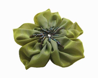 lime and periwinkle hand stitched and beaded ribbon flower brooch or hair clip