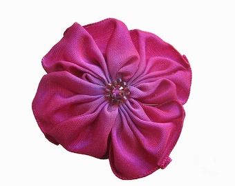 little ribbon flower pin magenta and lavender