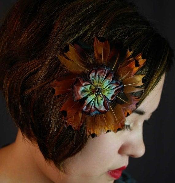 feathery flower brooch