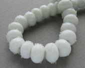 Lampwork glass beads - Sugared - White