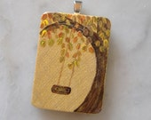 Pendant - Autumn Swing - Handpainted on Wood - by Majo