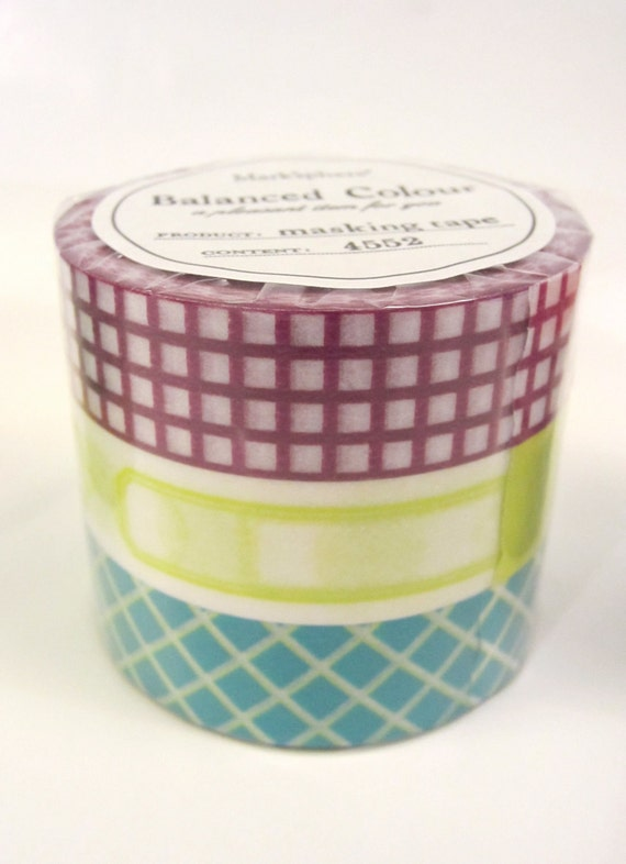 NEW Washi Tape, Set of 3 rolls -Vitamin Supplement, Mark'sphere PURPLE - by MARK'S
