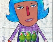 "Original Colorful Words Saying. ""She's Cantastic."" ART MAGNET with Love Birds. Motivational Healing Art from Allison Strine"
