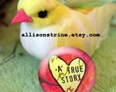 "Inspiration Motivation Creative ""A True Story"". LADYBIRD Pinback Button or Magnet. Sweetness."