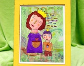 FOLK ART PRINT. She Thinks He's Perfect, Just the Way He Is. For Moms of boys on the autism spectrum. It's for boys with regular needs too.