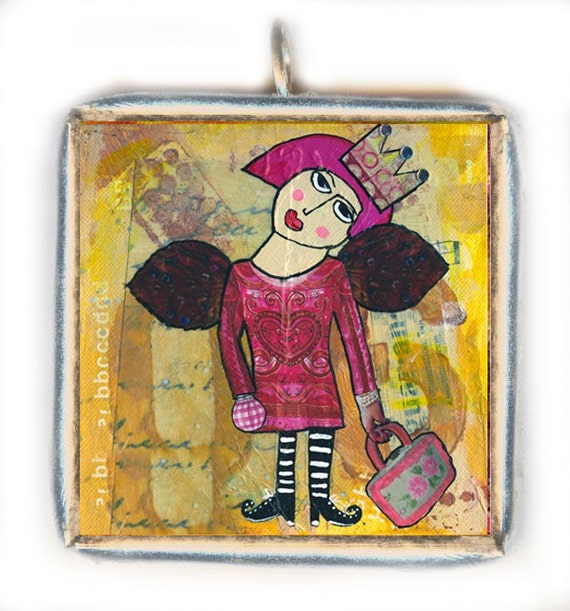 She's Glad She Has Wings . . . a LEAD FREE SOLDERED GLASS PENDANT for girls who need a little assistance to get off the ground.