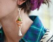 RESERVED for LeahRoseFertig - Mini Macrame Plant Hanger Earrings with Silver Hooks