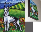 Harlequin Great Dane lighthouse original dog painting
