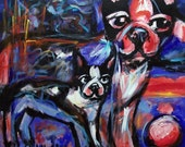 French Bulldog Frenchie art Abstract original dog painting