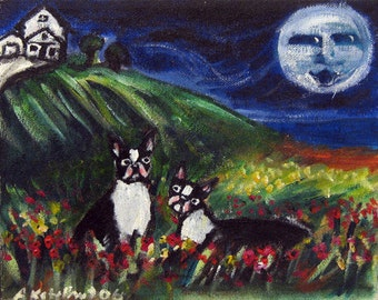 Boston Terrier love loungers whimsical moon original dog painting 10 x 8