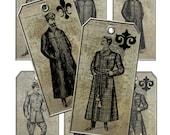 Digital Collage Sheet Vintage Antique Victorian Men Gift Hang Tags Sheet Printable Embellishments  HPTags-2