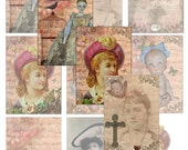 Digital  Collage Sheet Printable Download AtC AcEo Victorian Cottage Vintage Gift Antique Card Tags 2.5 x 3.5 inches HP-ATC-1