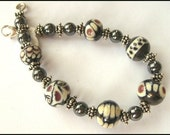 Silver Plum and Ivory Lampwork Bracelet
