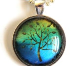 Blue and Yellow Tree Handmade Necklace - glass pendant with silver chain, nature, zen, enchanted forest, gift under 20