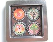 Woodland Magnet Set with Flip Top Tin - bottle cap magnets, bird, owl, tree, mushroom, plaid, spring, summer