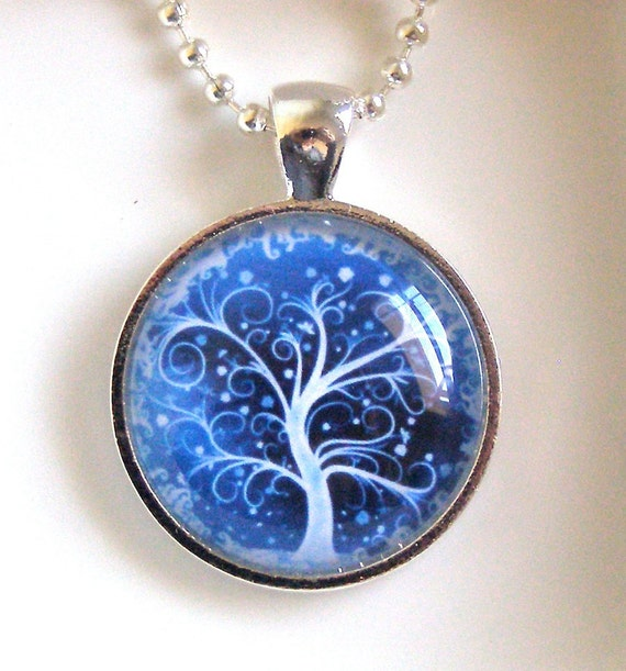 Magical Forest Handmade Necklace - glass pendant with silver chain, blue, tree, tree of life, enchanted, fantasy