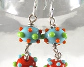 Free Shipping for this Pair of Handmade Orange Lime and Turquoise Glass Bumpie Bead Earrings