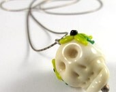 Free Shipping for this Cute Handmade Glass Skull Bead on a Sterling Silver Chain