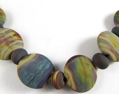 Free Shipping for this Set of Six Handmade Frosted Glass Raku Lentil Beads with Micro Raku Accents