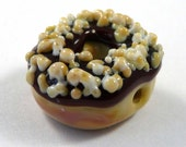Nuts Top the Chocolate Icing on this Tasty Handmade Glass Donut Bead