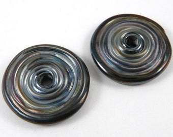 Free Shipping for this Pair of Gunmetal Handmade Glass Disk Beads